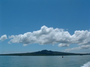 Rangitoto from Waitemata Harbor in Auckland