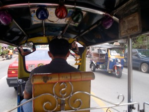Riding in a tuk-tuk