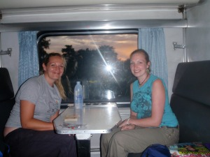 My friends Jo & Becky in the lower berth