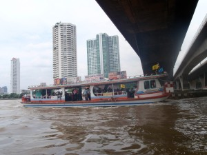From a boat taxi on Bangkok's Chao Phraya River